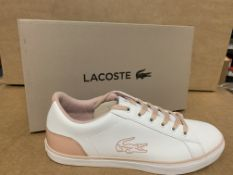 (NO VAT) 5 X BRAND NEW CHILDRENS LACOSTE WHITE AND PINK TRAINERS SIZE J5