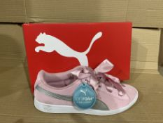 (NO VAT) 3 x NEW BOXED PAIRS OF PUMA SOFT FOAM+ PINK TRAINERS SIZE UK 5
