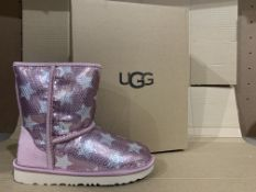 (NO VAT) NEW BOXED PAIR OF UGG PINK BOOTS. SIZE UK 1