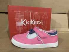 (NO VAT) 2 x NEW BOXED PAIRS OF KICKERS TOVNI-T-BOW BUMPER TEXT BOOTS. SIZE INFANT 12