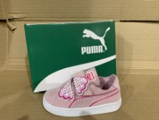 (NO VAT) 4 x NEW BOXED PAIRS OF PUMA SUEDE DECONSTR BUTTERFLY TRAINERS. SIZE UK INFANT 8