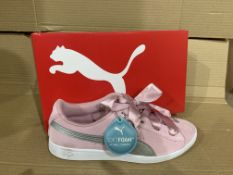 (NO VAT) 4 x NEW BOXED PAIRS OF PUMA SOFT FOAM+ PINK TRAINERS SIZE UK 5