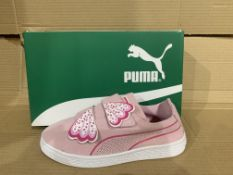 (NO VAT) 4 x NEW BOXED PAIRS OF PUMA SUEDE DECONSTR BUTTERFLY TRAINERS. SIZE UK 2