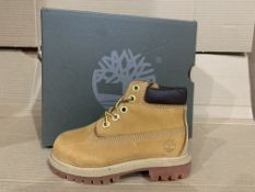 (NO VAT) NEW BOXED PAIR OF TIMBERLAND WHEAT BOOTS. SIZE INFANT 7