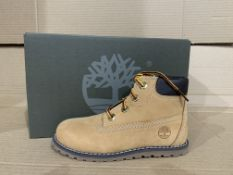 (NO VAT) 2 x NEW BOXED PAIRS OF TIMBERLANDS POKEY PINE 6 INSH SIDE ZIP BOOTS. SIZE UK INFANT 8.5