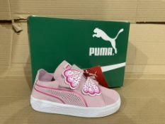 (NO VAT) 4 x NEW BOXED PAIRS OF PUMA SUEDE DECONSTR BUTTERFLY TRAINERS. SIZE INFANT 7
