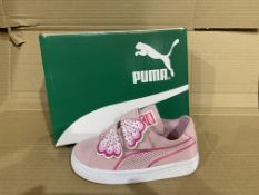 (NO VAT) 5 x NEW BOXED PAIRS OF PUMA SUEDE DECONSTR BUTTERFLY TRAINERS. SIZE UK INFANT 8
