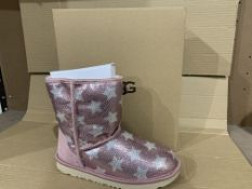 (NO VAT) NEW BOXED PAIR OF UGG PINK BOOTS. SIZE UK 5