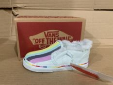 (NO VAT) 3 x NEW BOXED PAIRS OF VANS ASHER V CLOUD RAINBOW SHOES. SIZE UK INFANT 8