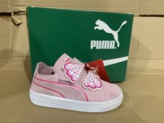 (NO VAT) 3 x NEW BOXED PAIRS OF PUMA SUEDE DECONSTR BUTTERFLY TRAINERS. SIZE INFANT 7