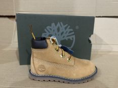 (NO VAT) 2 x NEW BOXED PAIRS OF TIMBERLANDS POKEY PINE 6 INSH SIDE ZIP BOOTS. SIZE UK INFANT 5