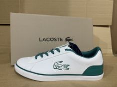 (NO VAT) 3 x NEW BOXED PAIRS OF LACOSTE ORTHOLITE LARGE CROC TRAINERS. SIZE UK 4