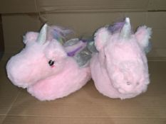 (NO VAT) 10 x NEW PACKAGED PAIRS OF UNICORN SLIPPERS SIZE UK 2/3