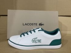 (NO VAT) 2 x NEW BOXED PAIRS OF LACOSTE ORTHOLITE LARGE CROC TRAINERS. SIZE UK 5