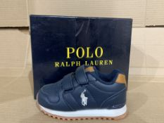 (NO VAT) 2 x NEW BOXED PAIRS OF POLO RALPH LAUREN ORYION EZ SHOES. SIZE INFANT 5