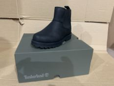 (NO VAT) 4 x NEW BOXED PAIRS OF TIMBERLAND COURMA KID CHELSEA BOOTS. SIZE UK INFANT 10