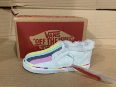 (NO VAT) 4 x NEW BOXED PAIRS OF VANS ASHER V CLOUD RAINBOW SHOES. SIZE UK INFANT 8