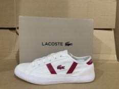 (NO VAT) 3 x NEW BOXED PAIRS OF LACOSTE SIDELINE 319 TRAINERS. SIZE UK 2