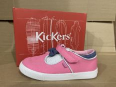 (NO VAT) 3 x NEW BOXED PAIRS OF KICKERS TOVNI-T-BOW BUMPER TEXT BOOTS. SIZE INFANT 12