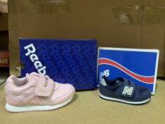 (NO VAT) 2 X BRAND NEW REEBOK ROYAL PINK TRAINERS SIZE i9 AND 2 X BRAND NEW NEW BALANCE NAVY