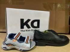 (NO VAT) 4 X BRAND NEW KIDS DIVISION BLACK SHOES SIZE J2 AND 3 X BRAND NEW KIDS DIVISION SANDALS