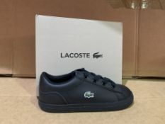 (NO VAT) 6 X BRAND NEW LACOSTE BLACK TRAINERS SIZE i9