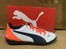(NO VAT) 5 X BRAND NEW PUMA WHITE RED AND NAVY FOOTBALL TRAINERS SIZE J4