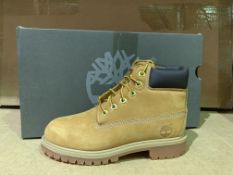 (NO VAT) 3 X BRAND NEW TIMBERLANDS WHEAT NUBUCK YELLOW BOOTS SIZE 1