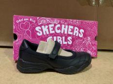 (NO VAT) 3 X BRAND NEW SKETCHERS FIRLS BLACK SHOES SIZE 12.5