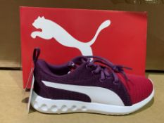 (NO VAT) 2 X BRAND NEW PUMA SOFTFOAM PINK AND PURPLE TRAINERS SIZE J3