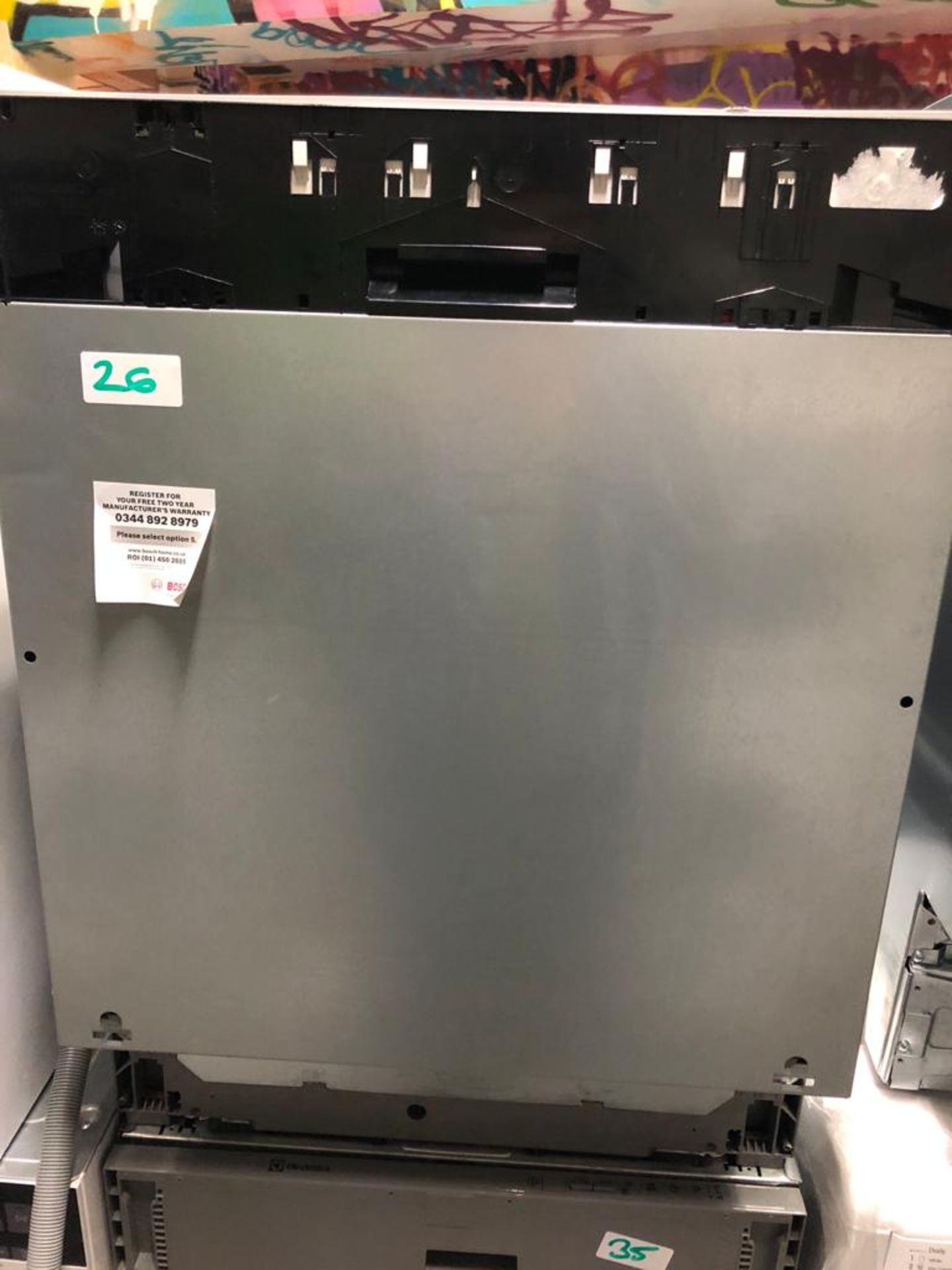 NEW/GRADED AND UNPACKAGED Bosch SMV40C30GB Integrated Dishwasher (Dent in roof of D/W)