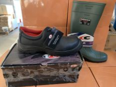 3 X PAIRS OF V6 STEEL TOE CAP WORK SHOES SIZE13 AND 1 X COFRA WORK WELLIES (253/30)