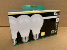 4 x NEW BOXED PACKS OF 3 DIALL LED LIGHTBULBS E27. COOL WHITE. 10.5W=75W. (261/26)