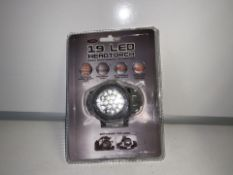 8 X NEW PACKAGED ENZO 19 LED HEAD TORCHES (157/26)