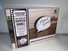 2 X NEW BOXED POWERFUL LED LIGHT UP SPEECE BUBBLES - WRITE OR DRAW YOUR CREATIONS. RRP £24.99