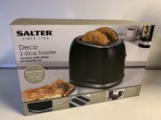 BRAND NEW SALTER DECO 2 SLICE TOASTERS WITH REMOVABLE CRUMB TRAY FOR EASY CLEANING (40/26)