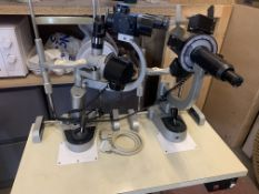 OPTICIANS INAMI SLIT LAMP AND GRAFTON OPHTHALMOMETER ON MOBILE STAND