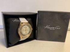 BRAND NEW WOMENS KENNETH COLE WHITE STRAPPED WATCH