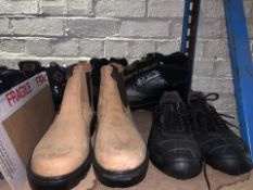 5 x PAIRS OF WORK BOOTS/SHOES TO INCLUDE JCB ETC IN VARIOUS SIZES (112/13