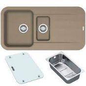 NEW (REF10) 1 x Franke PEBEL Pbg651 Rvrs FRAGRANITE 1.5 Bowl Inset Sink Oyster. ColourBeige