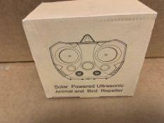 1 X NEW & BOXED SOLAR POWERED ULTRASONIC ANIMAL & BIRD REPELLER