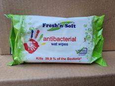 PALLET TO CONTAIN 960 x NEW SEALED PACKS OF 60 - FRESH N' SOFT ANTIBACTERIAL WET WIPES. RRP £3.99
