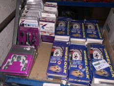 38 PIECE MIXED LOT INCLUDING ANTI THEFT LOCKING WHEEL NUTS, WINTER GIFT SETS, CHARGERS ETC