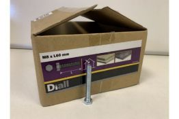 20 X 4KG BOXES OF DIALL M8 X L60MM HEX BOLTS LOOSE (196/20)