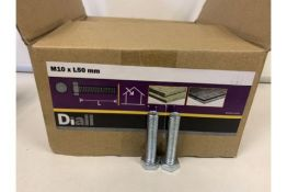 20 X 4KG BOXES OF DIALL M10 X L50MM HEX BOLTS LOOSE (201/20)