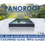 Panoroof 1500x1500mm (inside Size Visable glass area) Seamless Glass Skylight Flat Roof Rooflight