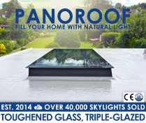 """""""Panoroof Triple Glazed Self Cleaning , 400x1500mm (inside Size Visable glass area) Seamless Glass"""