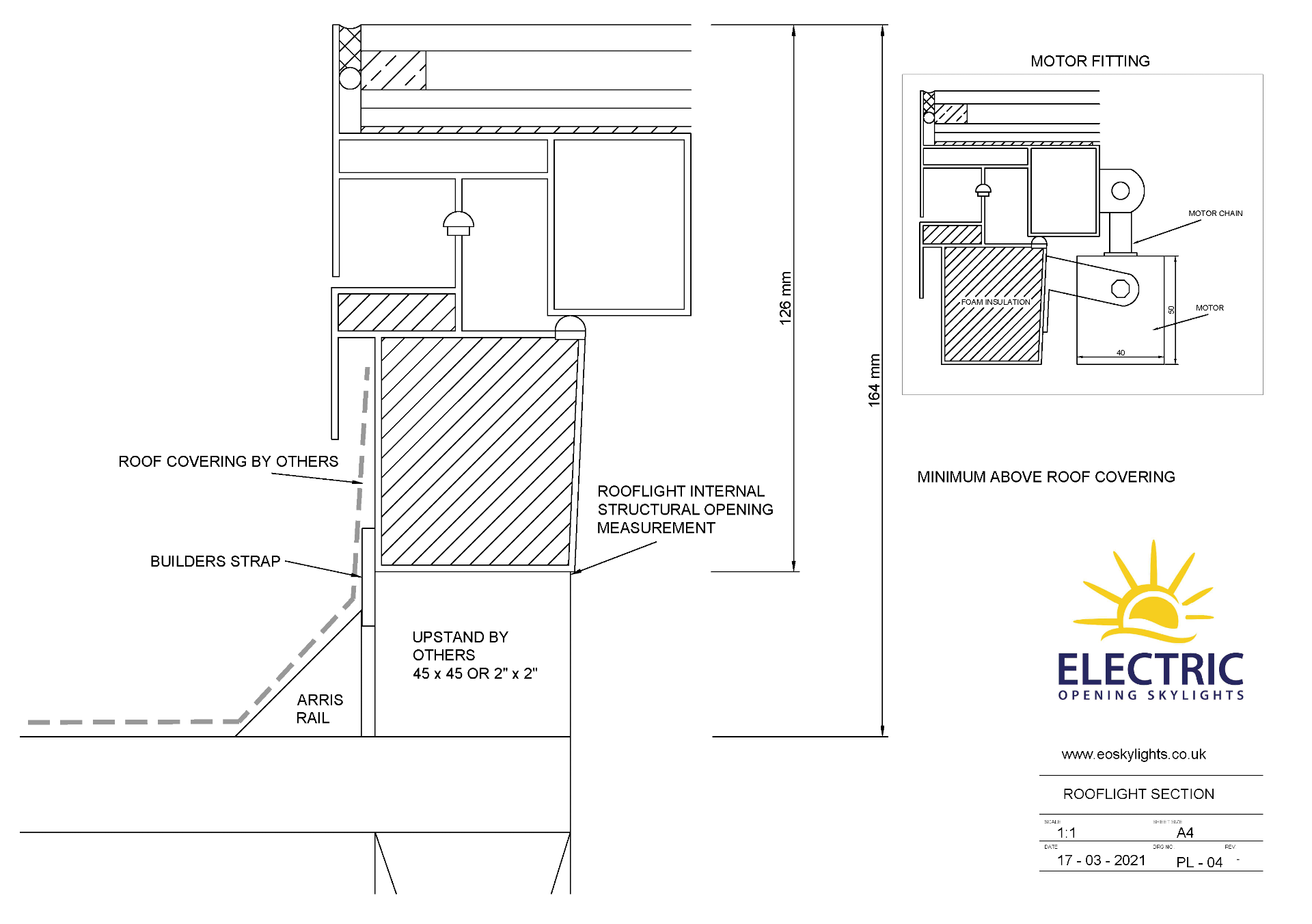 Panoroof (EOS) Electric Opening Skylight 600x900mm - Aluminiun Frame Double Glazed Laminated Self- - Image 3 of 6