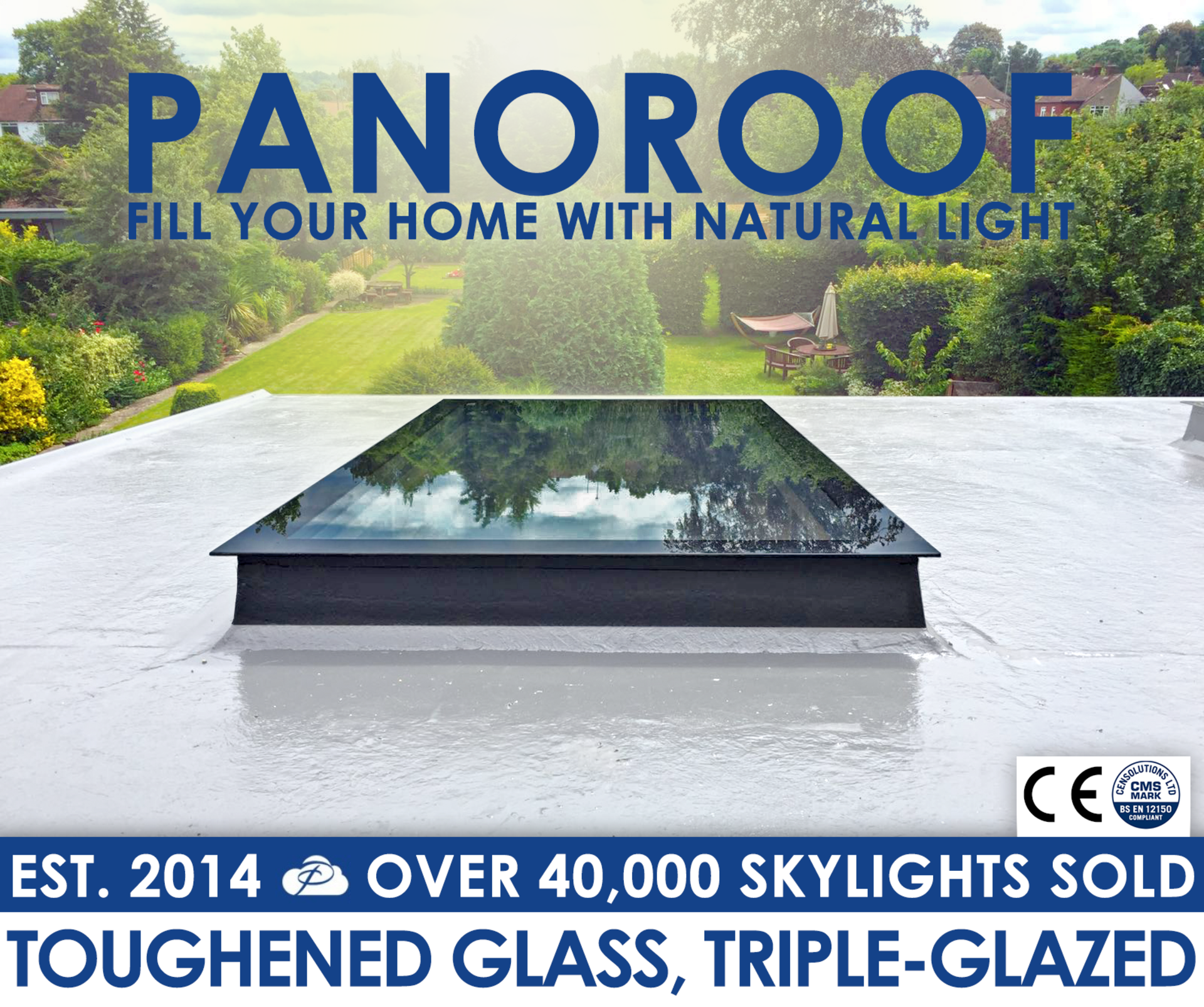 Panoroof 2000x2000mm (inside Size Visable glass area) Seamless Glass Skylight Flat Roof Rooflight