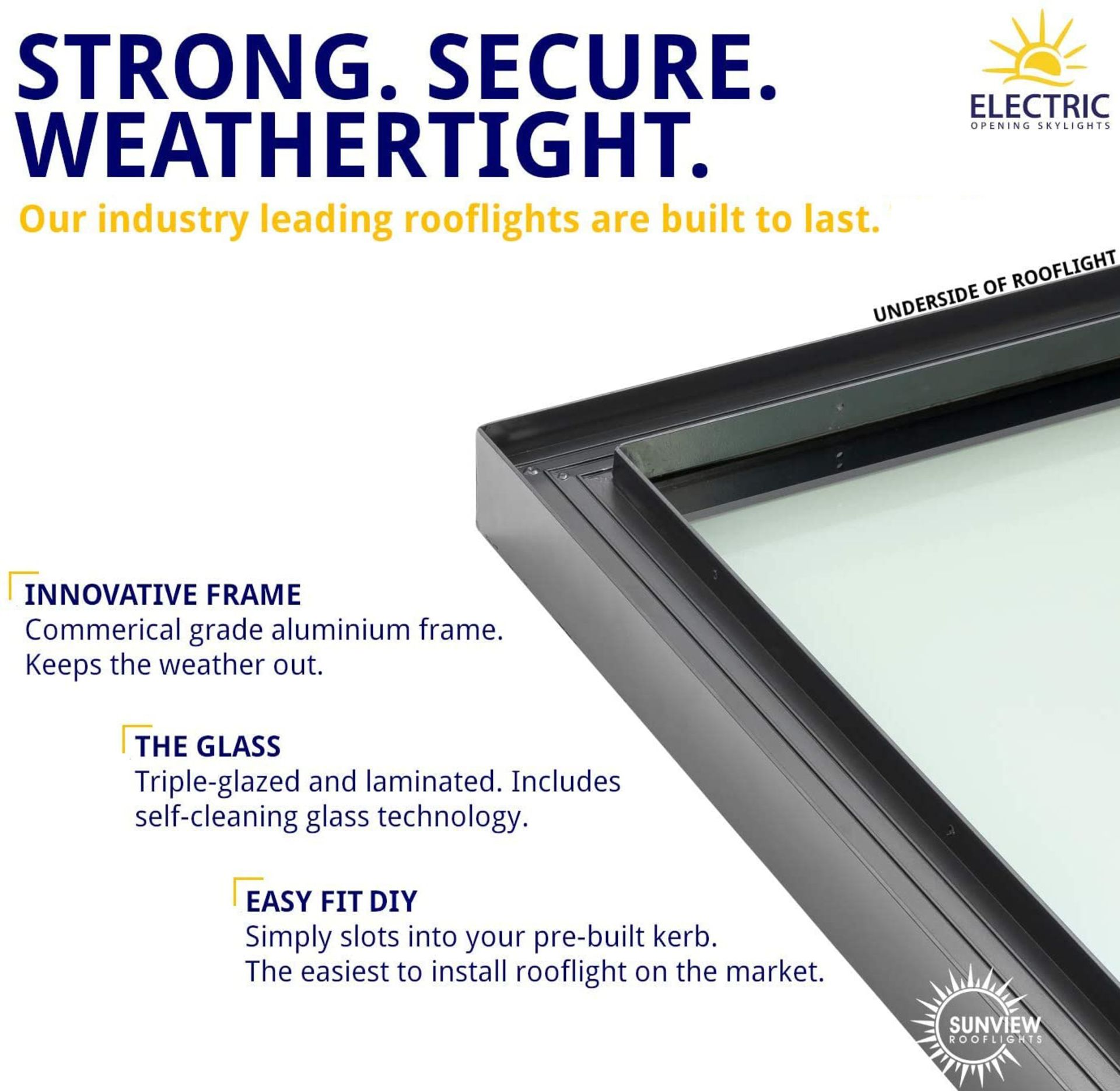Panoroof (EOS) Fixed Aluminium Triple-Glazed Laminated Skylight with Self-Cleaning Glass - 800x800mm - Image 2 of 6
